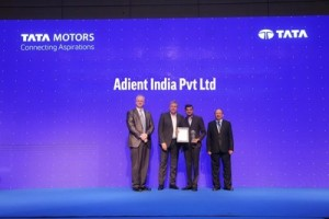 From left: Mr Thomas Flack, Chief Purchasing Officer, Tata Motors; Mr Guenter Butschek, CEO and Managing Director, Tata Motors; Mr Murali Rajagopalan, Director and Country Manager, Adient India; Mr Satish B Borwankar, Chief Operating Officer, Tata Motors (PRNewsfoto/Adient)
