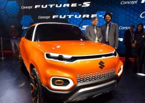 Greater Noida: Maruti Suzuki's Senior Executive Director, Marketing and Sales RS Kalsi (R) and Senior Executive Director (Engineering) CV  Raman showcase the company's ConceptFutureS at the Auto Expo 2018 in Greater Noida on Wednesday. PTI Photo by Vijay Verma    (PTI2_7_2018_000020B)