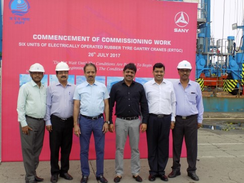 Chairman,Shri Anil Diggikar & Dy Ch,Shri.Niraj Bansal (3rd & 4th from left) along with senior officials of JNPT