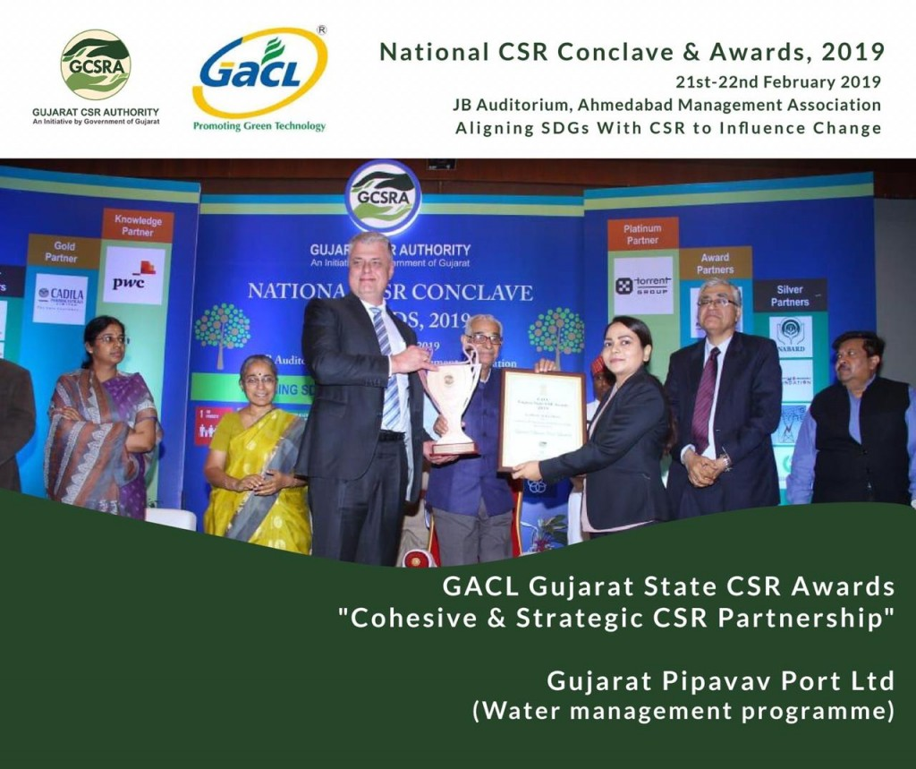 Mr. Keld Pedersen, MD, GPPL and Ms. Harsha Mashelkar, Head HR - CSR & Admin, GPPL, received the award from Shri O P Kohli, Hon. Governor of Gujarat